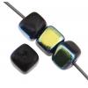Glass Bead Cubes 5.5x5mm Strung Black Aurora Borealis .
